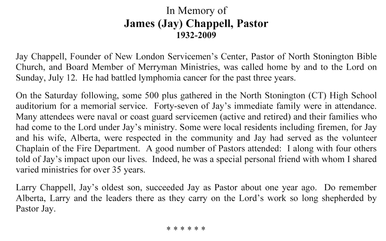 In Memory of James (Jay) Chappell, Pastor
