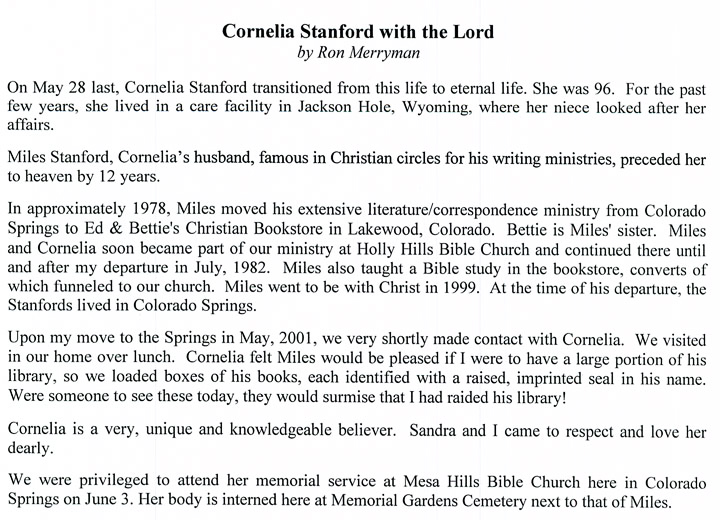 Cornelia Standford with the Lord